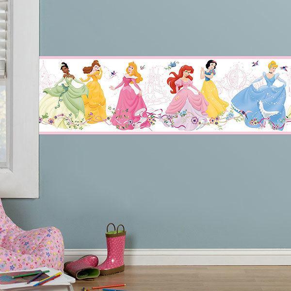 Vinilos Infantiles Disney.Cenefa Adhesiva Infantil Princesas Disney Bailando