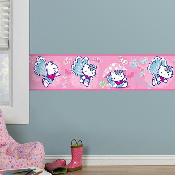 Vinilos Hello Kitty Pared.Vinilos Decorativos Infantiles De Cenefas Para Ninos