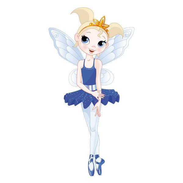 Hada bailarina azul for Vinilos infantiles hadas