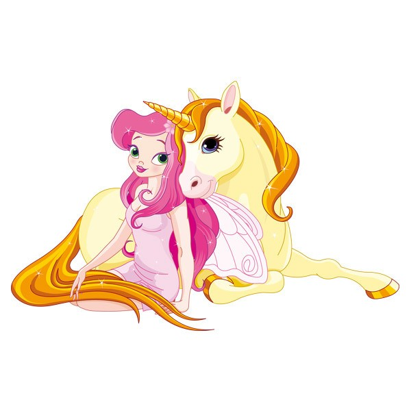 Vinilo infantil princesa y unicornio - Vinilos de hadas infantiles ...