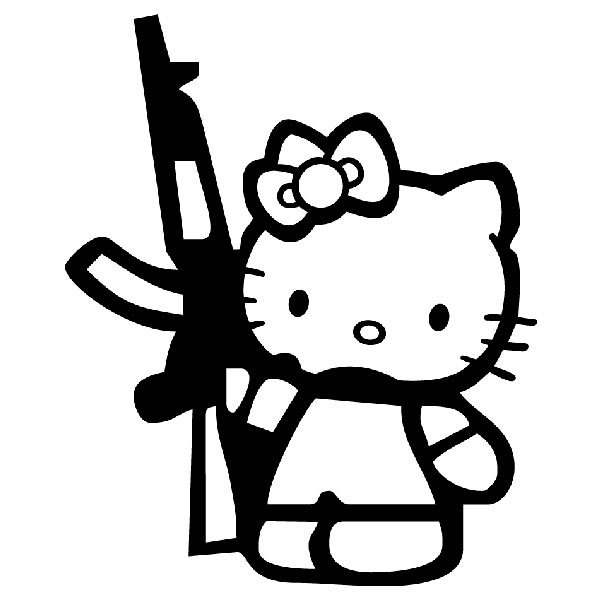 Pegatinas: Hello Kitty Rifle AK47