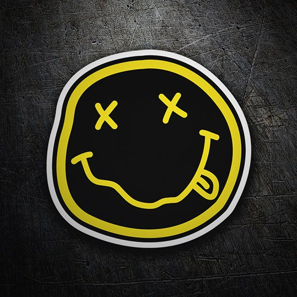 Pegatinas: Smiley Borracho de Nirvana Negro