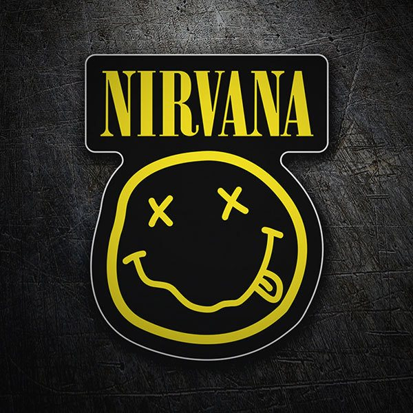 Pegatinas: Nirvana con Smiley Borracho Negro 1