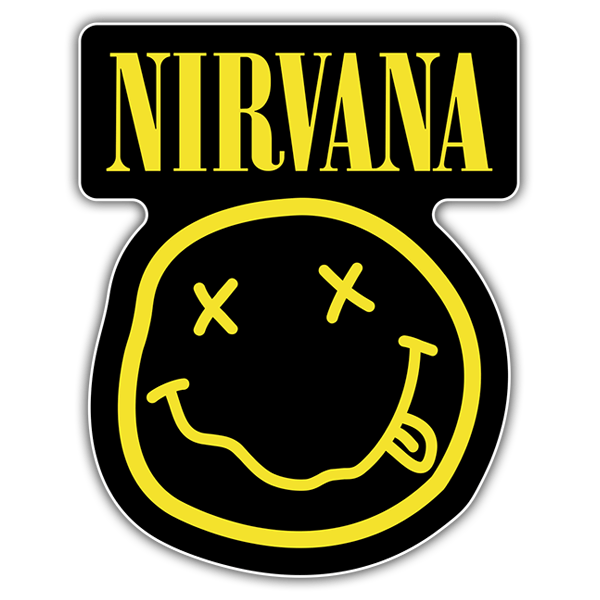 Pegatinas: Nirvana con Smiley Borracho Negro