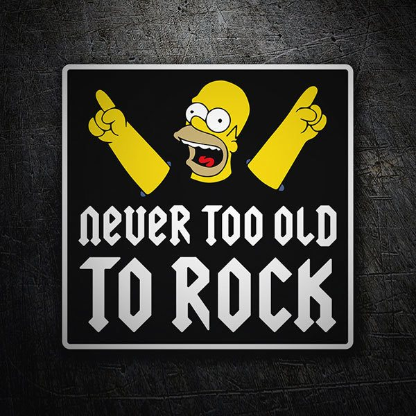 Pegatinas: Homer Never too old to rock 1