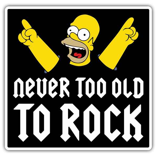 Pegatinas: Homer Never too old to rock