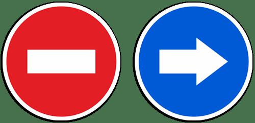 Pegatina De Señal De Direccion Prohibida