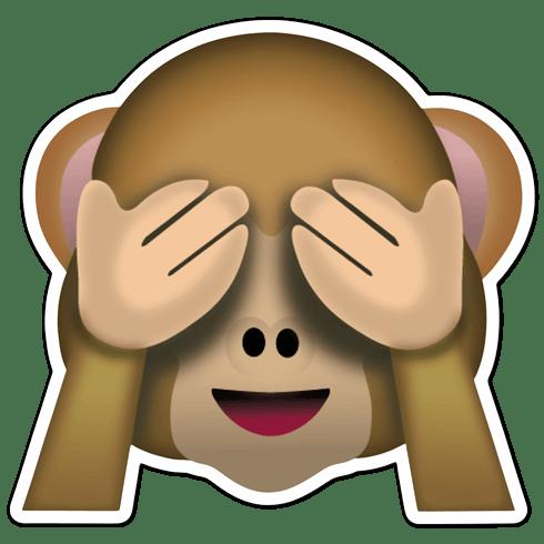 Pegatina emoticono emoji Mono que no quiere ver