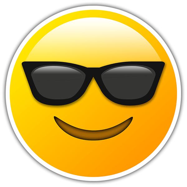 Pegatina cara sonriente con gafas de sol - Emoticono gafas de sol ...