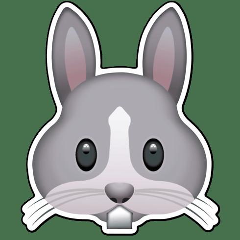 pegatina emoticon emoji cara de conejo