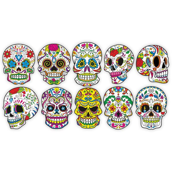 Vinilo Decorativo Kit De 8 Calaveras Mexicanas