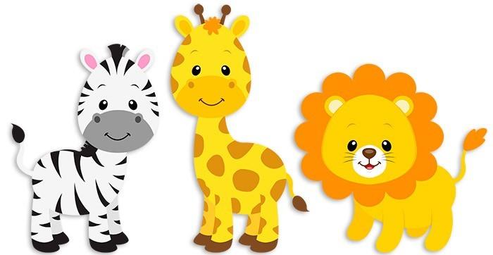 Safari cebra, jirafa y león
