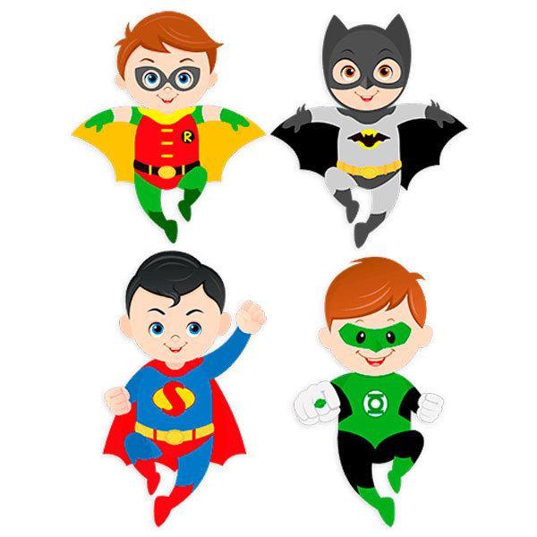 Vinilo decorativo infantil kit superh roes volando for Stickers de pared infantiles