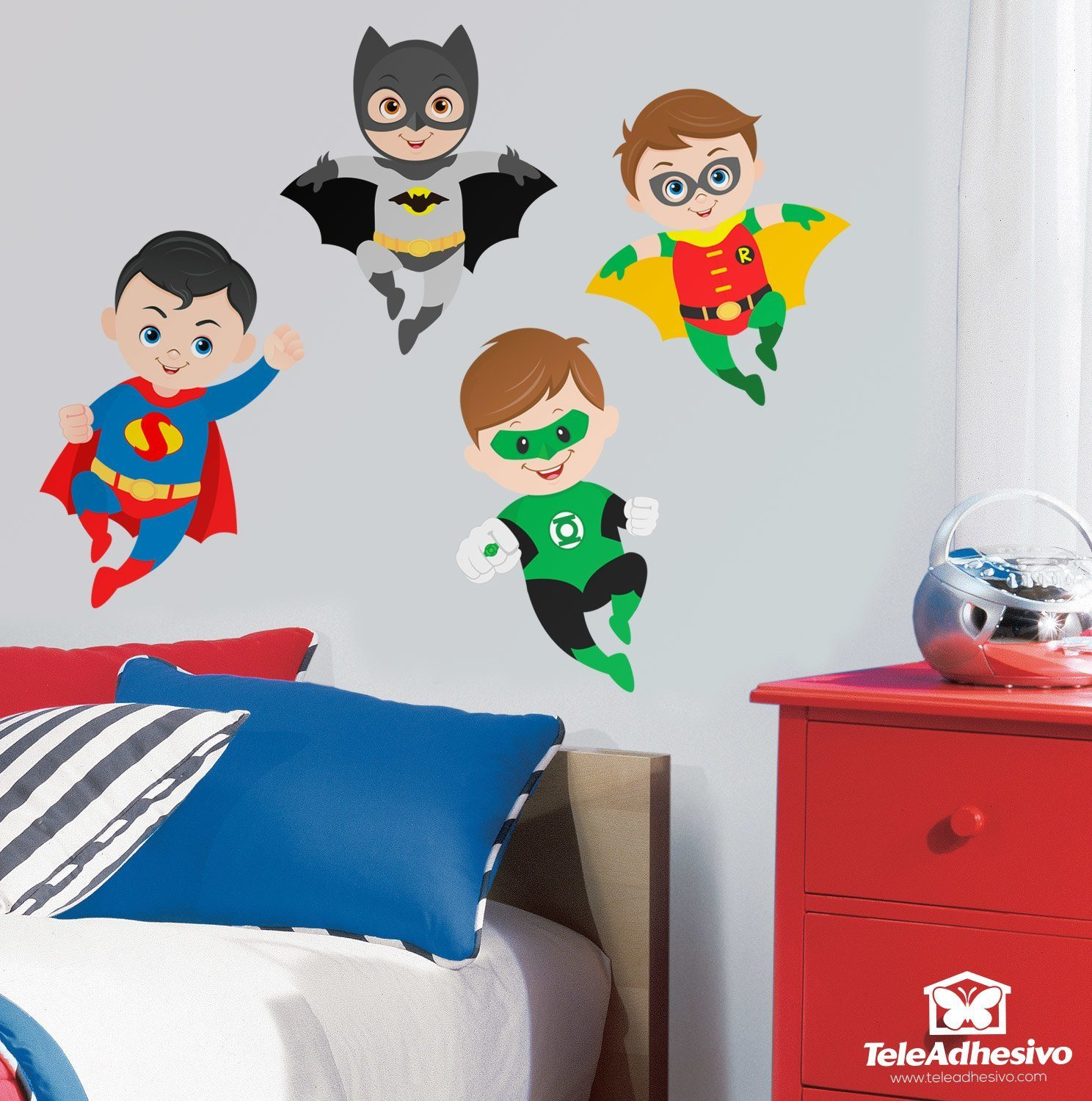 Vinilo decorativo infantil kit superh roes volando for Stickers pared ninos