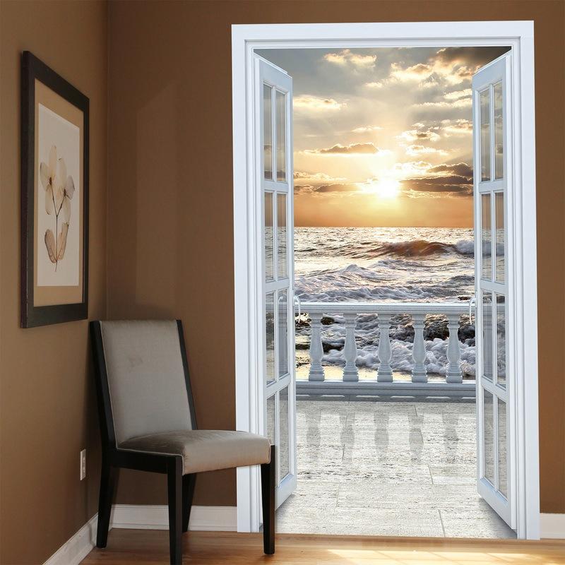 Puerta al balc n en la playa - Puertas con vinilo ...