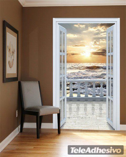 Puerta al balc n en la playa - Vinilo para puerta ...