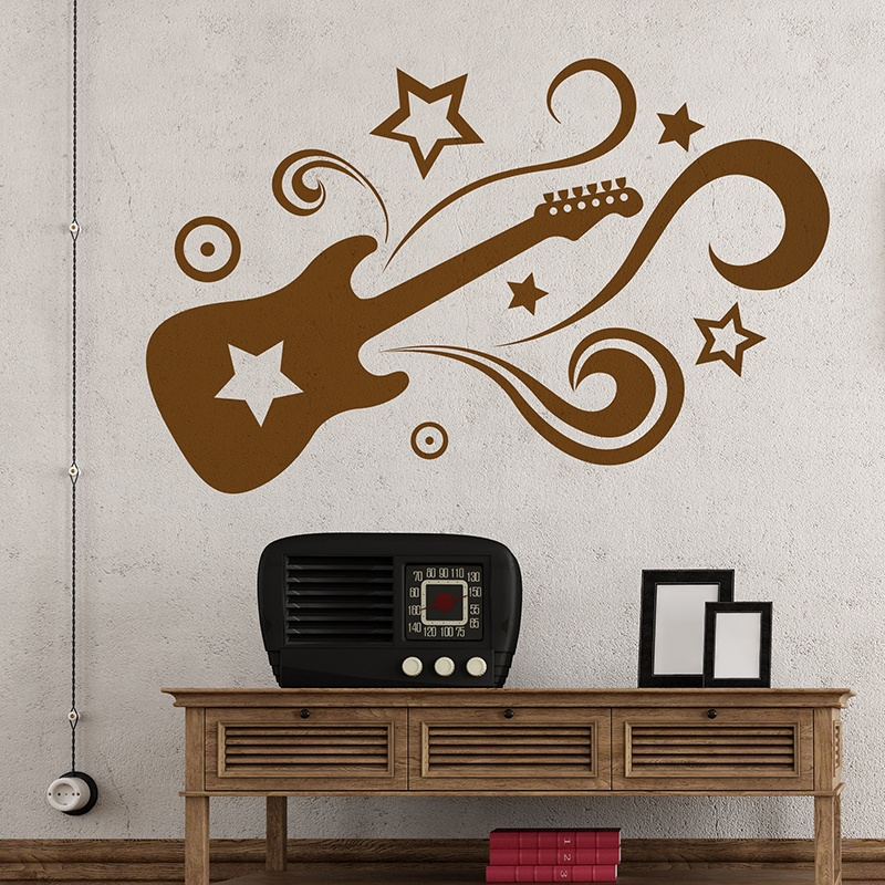 Vinilo decorativo guitar star for Vinilo decorativo musical pared
