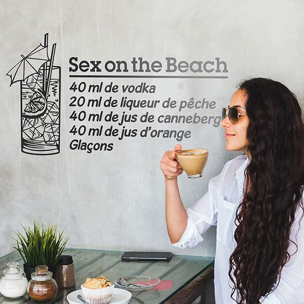 Vinilos Decorativos: Cocktail Sex on the Beach - francés