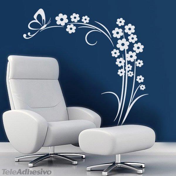Vinilo de pared floral esquinero de flores y mariposa for Papel vinilo blanco