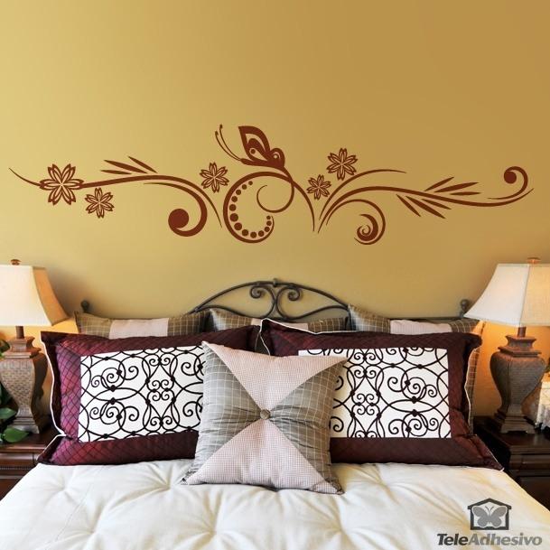 Vinilo de pared cabecero floral y mariposa for Vinilos decorativos mariposas