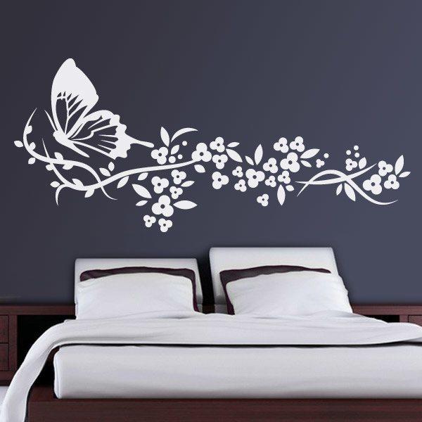 Mariposa y floral for Vinilos decorativos baratos