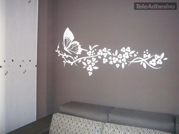 Mariposa y floral for Vinilos decorativos mariposas