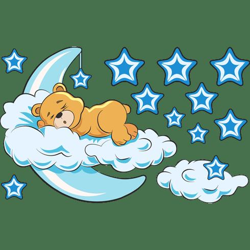 Vinilo decorativo infantil oso en las nubes y luna azul - Imagenes de nubes infantiles ...