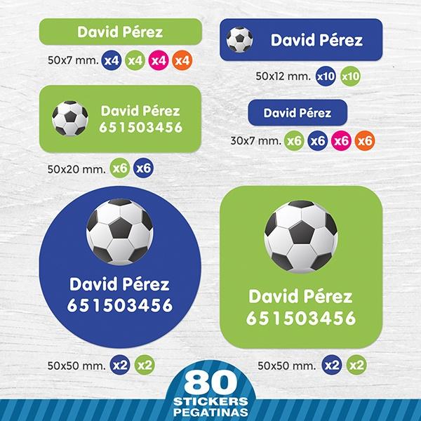 Etiquetas adhesivas personalizadas para niños Fútbol  a98da602ed444