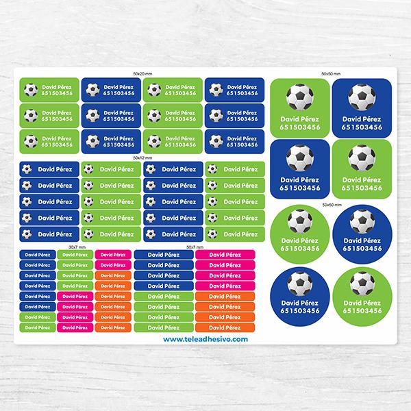 Etiquetas adhesivas personalizadas para niños Fútbol. Pegatinas  Kit  Etiquetas Fútbol 996e605cc00f2