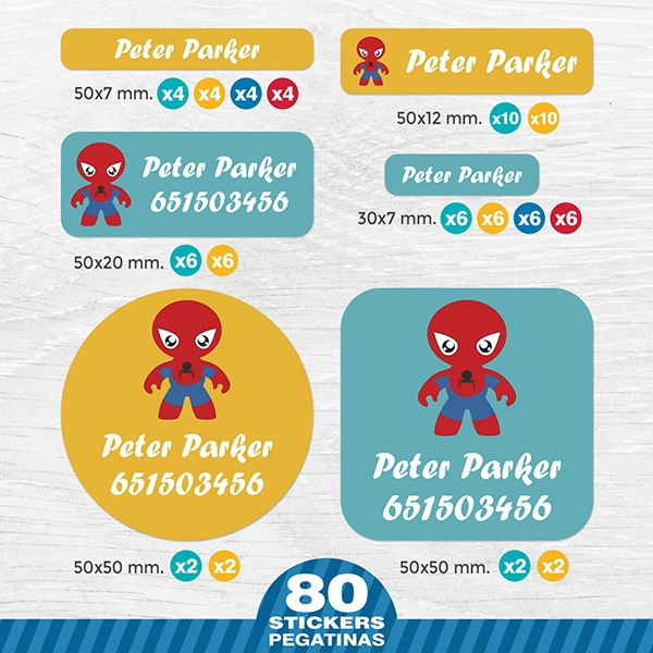 Pegatinas: Kit Etiquetas Spiderman