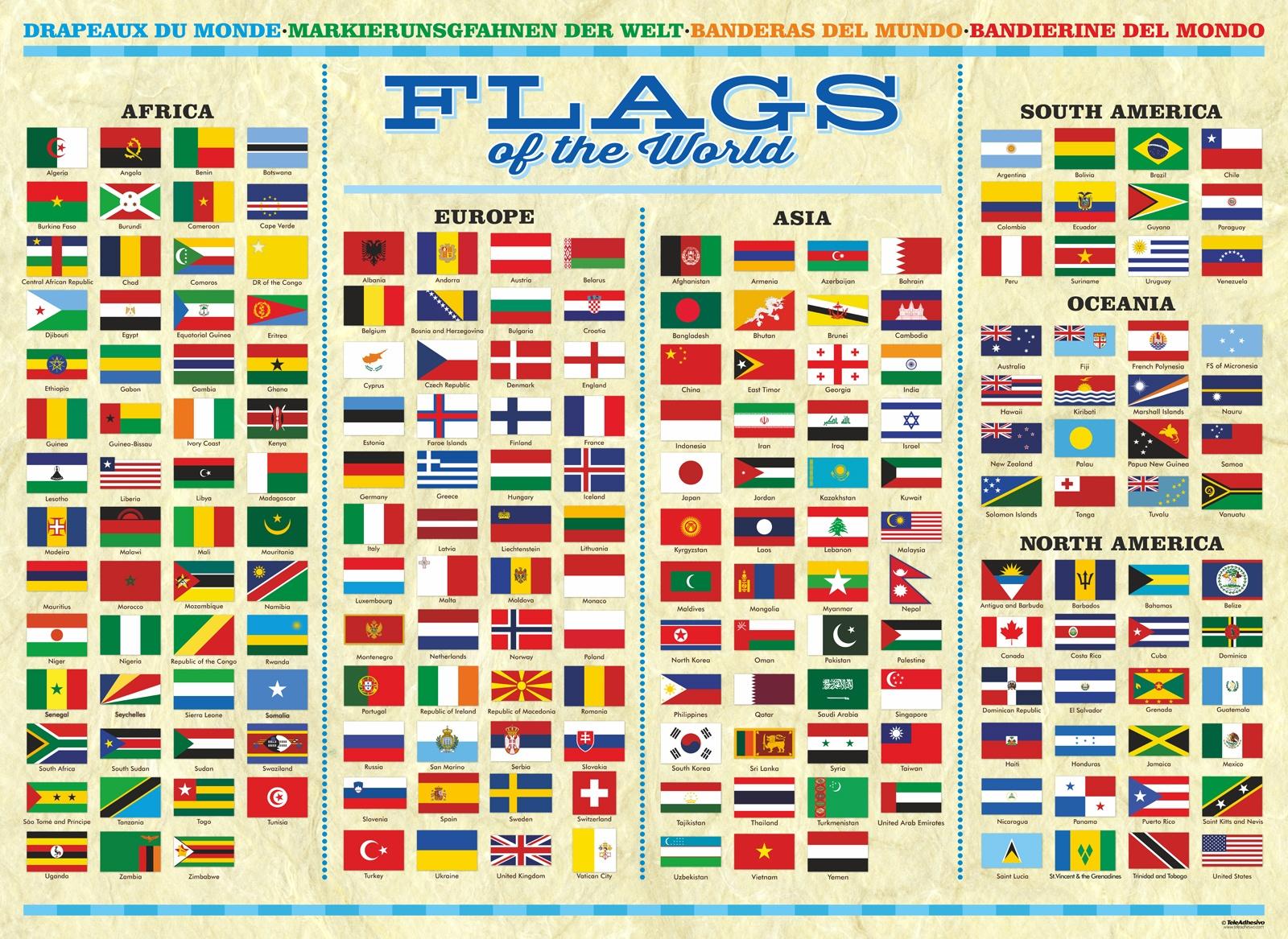 Póster Adhesivo Banderas Del Mundo