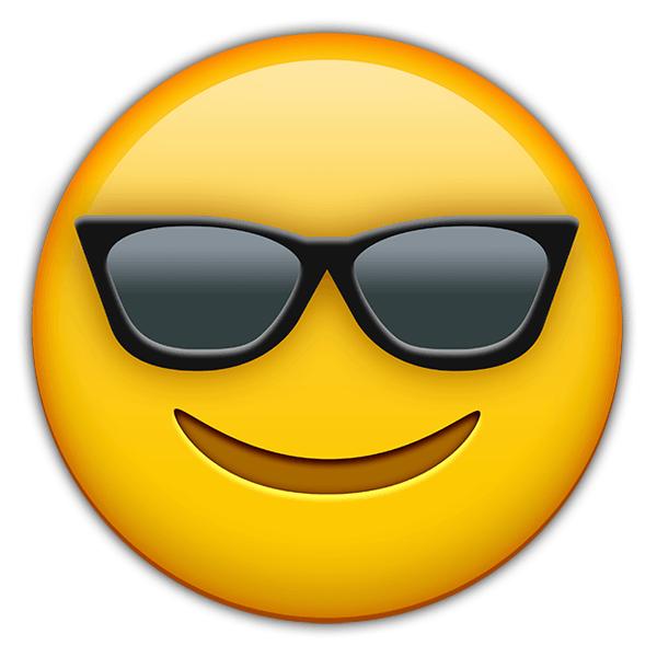 Vinilo decorativo cara sonriente con gafas de sol - Emoticono gafas de sol ...