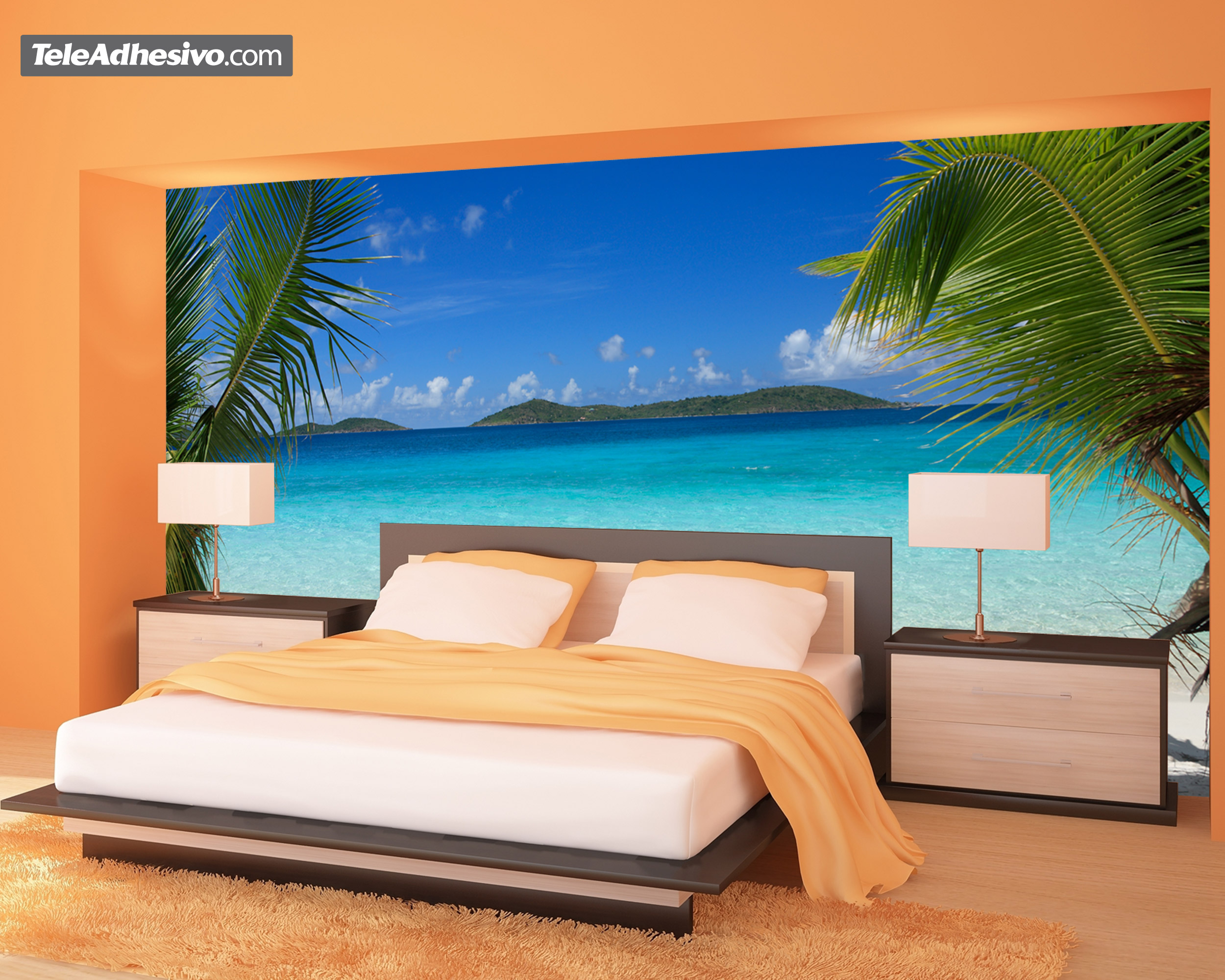 Playa entre palmeras - Fotomurales pared ...