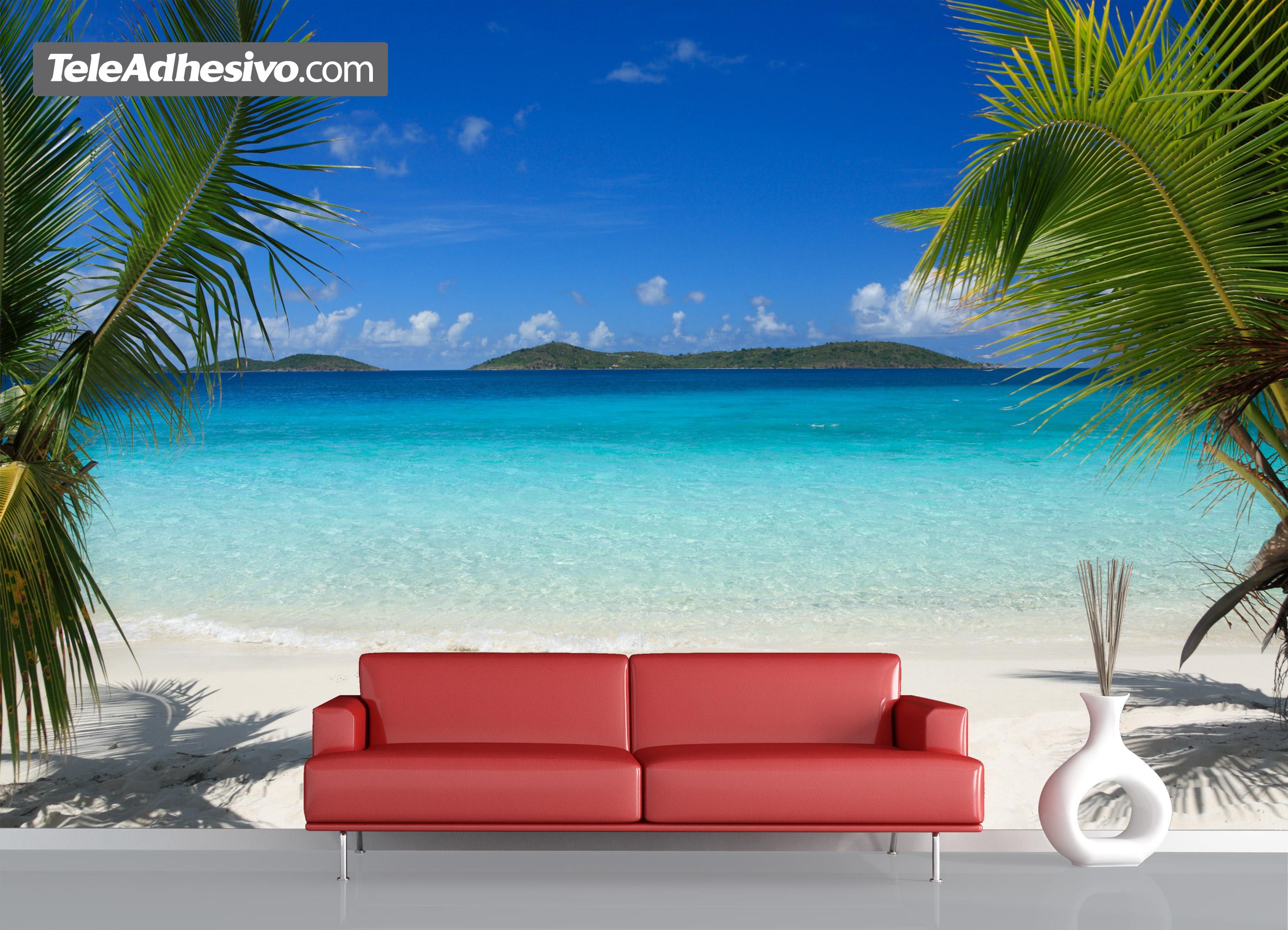 Playa entre palmeras - Murales para dormitorios de adultos ...