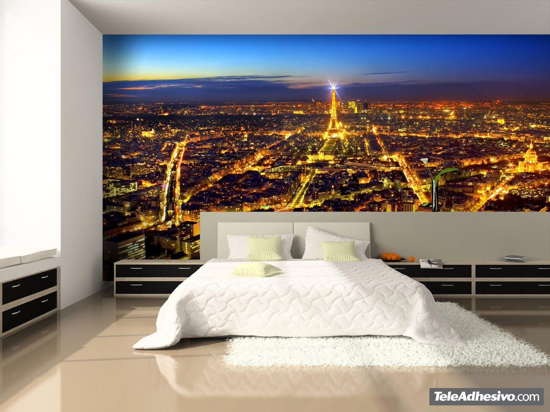 Fotomural Paris Iluminando La Noche Teleadhesivo Com