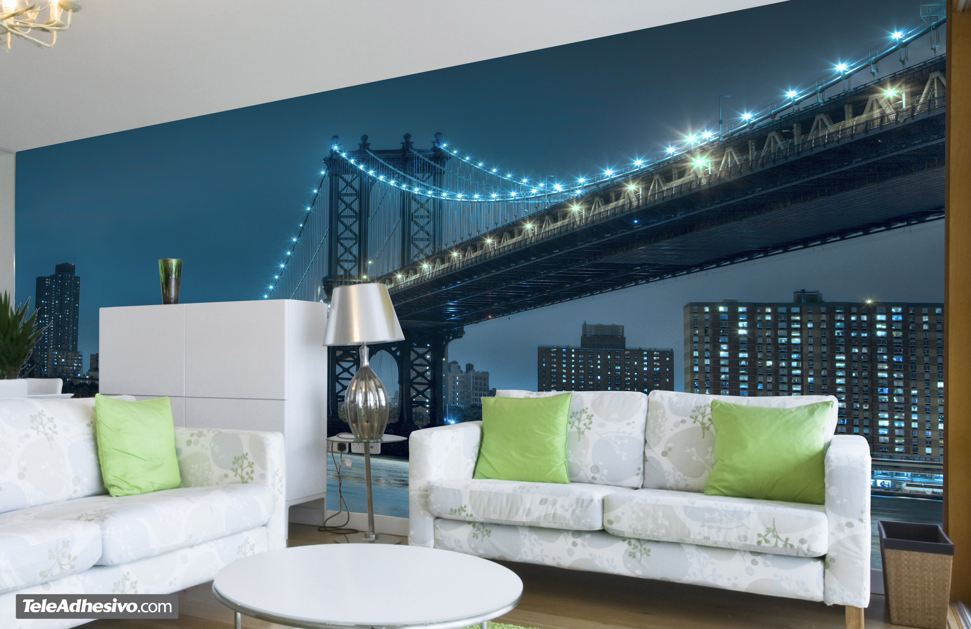 Fotomurales: Brooklyn con luces azules