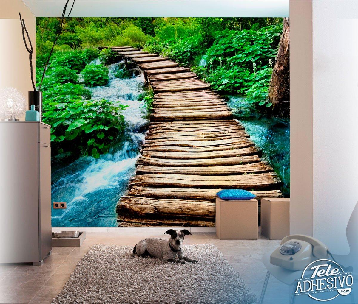 Fotomural puente de madera - Murales de madera ...