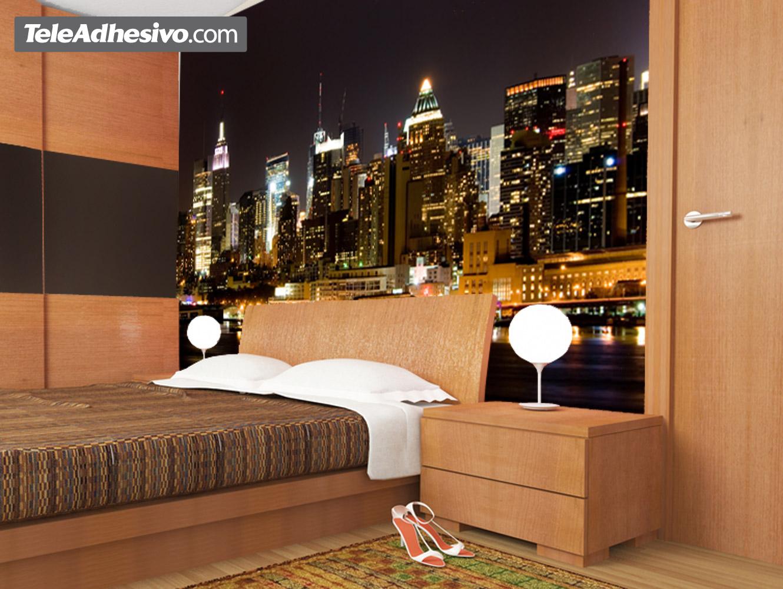Manhattan de noche for Fotomurales para recamaras