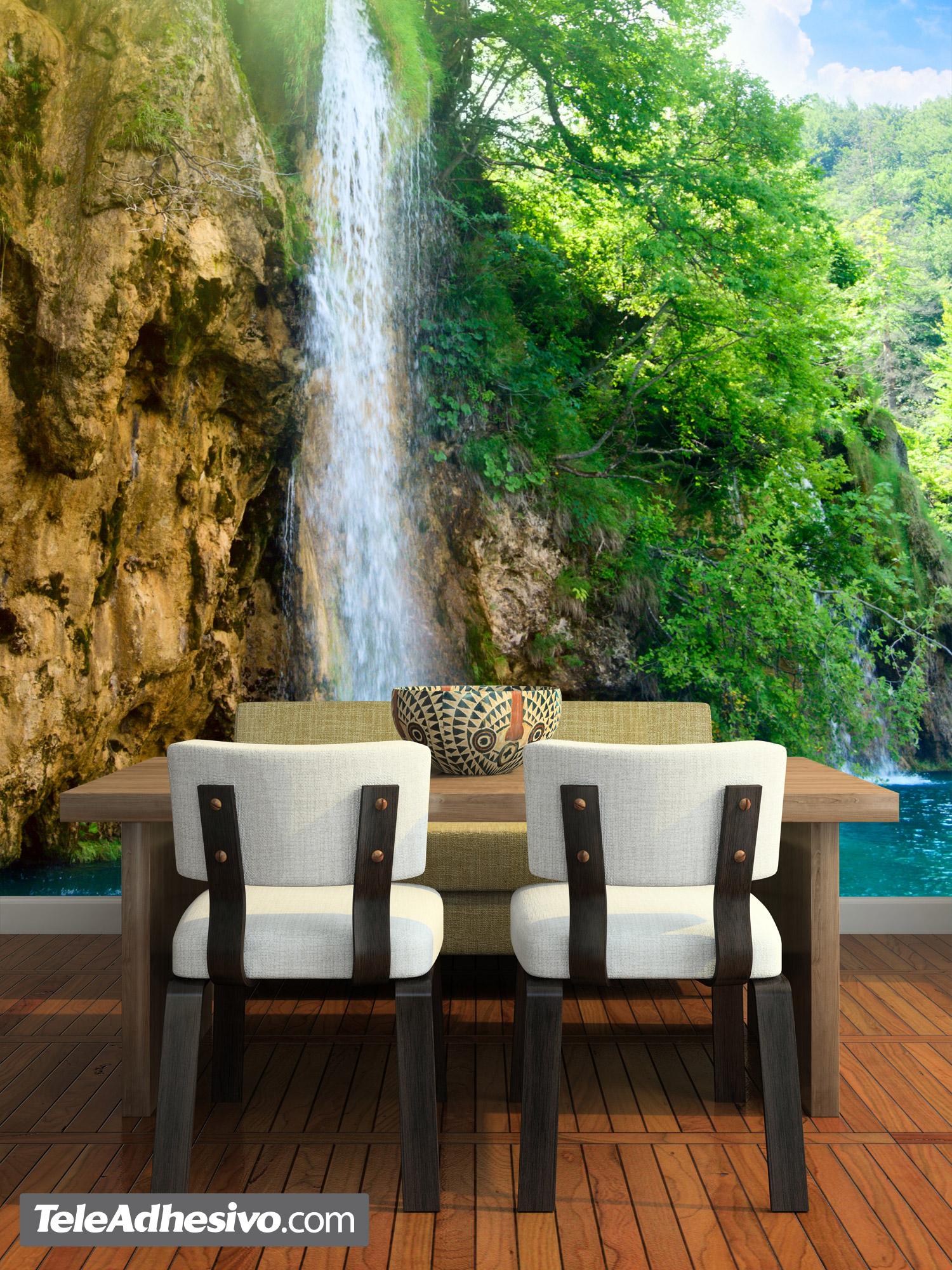 Paisaje cascada for Fotomurales pared paisajes