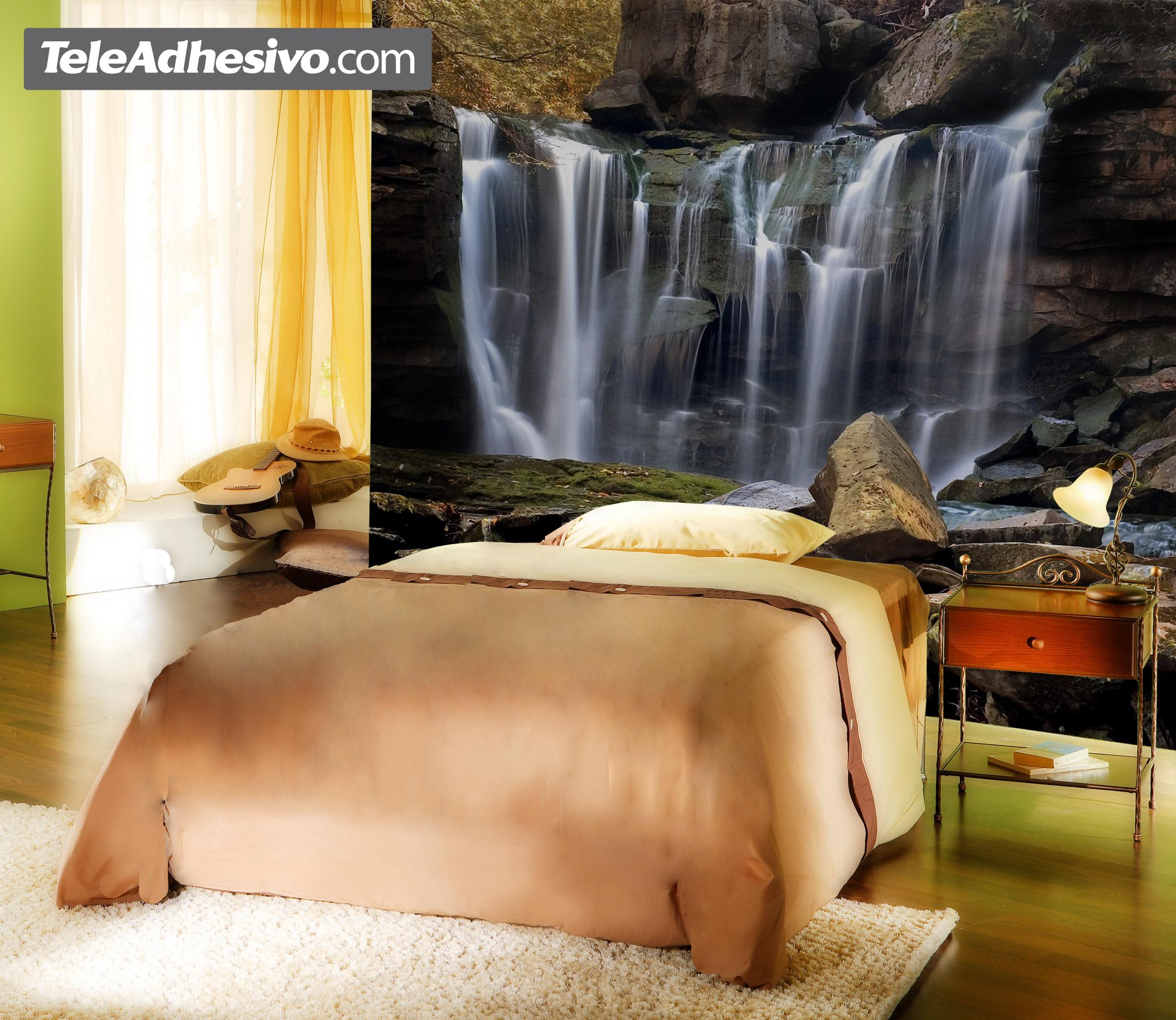La cascada de las rocas for Murales vinilo para paredes paisajes