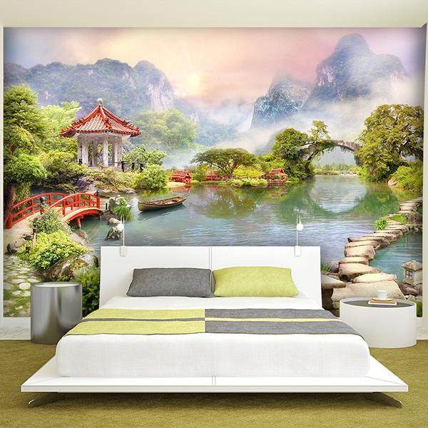 Fotomural lago oriental for Jardines murales