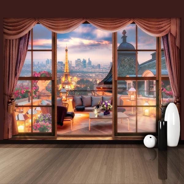 fotomural vista a la torre eiffel. Black Bedroom Furniture Sets. Home Design Ideas