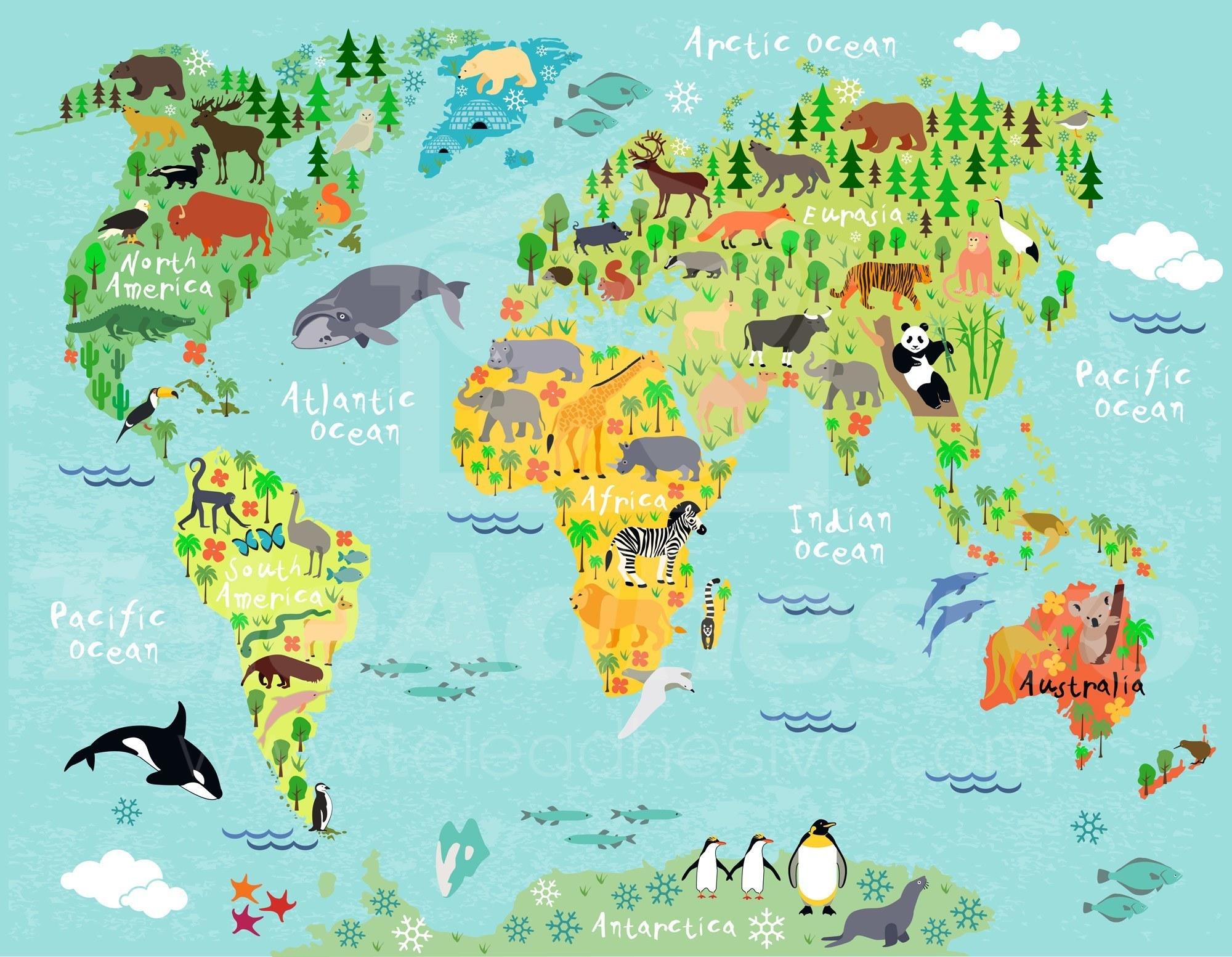 Mapamundi infantil 2 - Papel pintado mapa del mundo ...