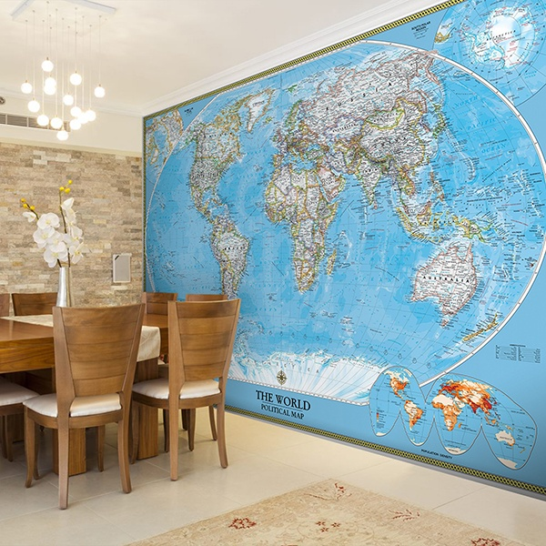 Fotomurales de mapamundi o mapas del mundo - Papel pintado mapa del mundo ...