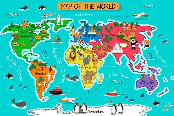 Mapa Del Mundo Infantil.Fotomural Mapa Del Mundo Infantil Teleadhesivo Com