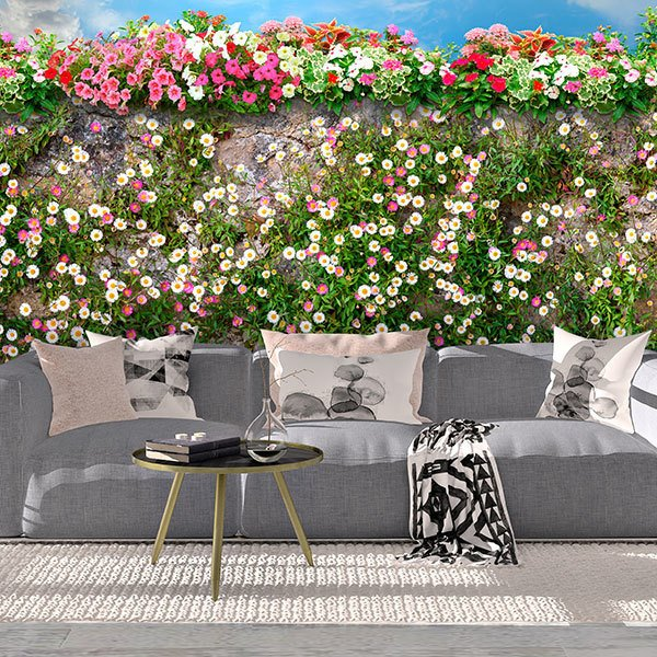 Fotomurales: Pared con flores 0