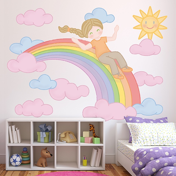 Vinilos Para Habitación De Bebé Tobogán Sobre El Arcoíris