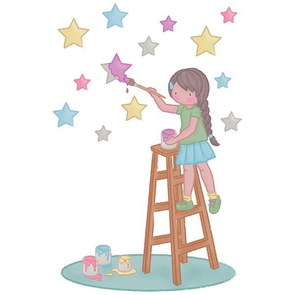 Vinilo Decorativo Infantil Pintando Las Estrellas