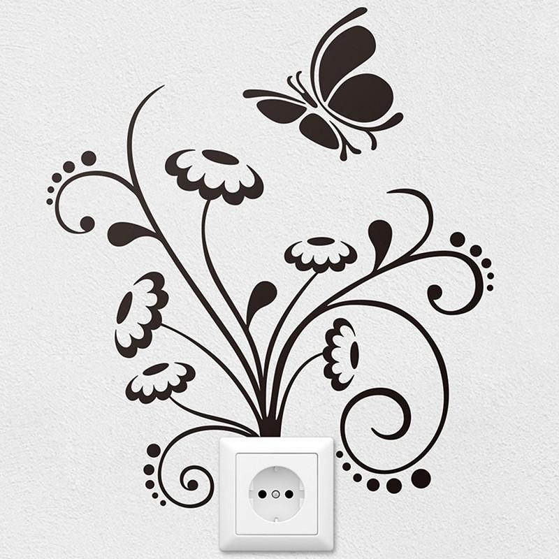 Flores y mariposas for Vinilos mariposas