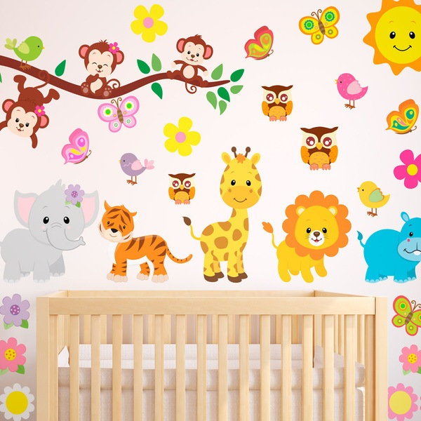 Vinilo decorativo infantil kit animales de la jungla - Babyzimmer jungle ...